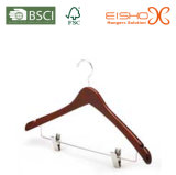 Functional Style Wooden Light Suit Hanger with Metal Clips (MC016)