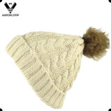 Jacquard Cable Pattern Fur Pompom Hat