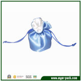 Lovely Mini Light Blue Satin Jewellery Pouch with Drawstring