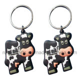 Cow Shape 3D Soft PVC Rubber Keyring (KCP173)