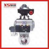 Hygienic Tri Clamp Pneumatic Butterfly Valve with Double-Acting Aluminum Actuator