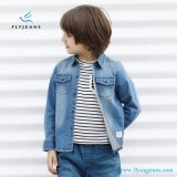 Fashion Classic White Grinding Boys′ Long Sleeve Denim Shirt by Fly Jeans