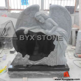 Carved Angel Monument Granite Headstone with Heart Memorial