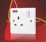 BS 1363 13A 1 Gang Single Pole Switched Socket Outlet with Neon