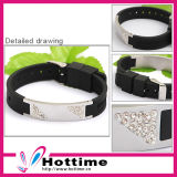 Fashion Crystal Silicone Energy Customized Bracelet (CP-JS-NW-002)