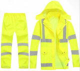 New Design Hot Sale Outdoor Rain Coat Rain Pant Fluorescent Green Traffic Safety Warming Clothing High Visibility Reflective Clothes