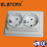 Europe Style Flush Mounted 16A Double Socket Outlet (F7210)