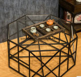 American Fashion Sitting Room Tea Table Wrought Iron Tea Table Glass Tea Table (M-X3224)