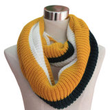 Three Tone Acrylic Knit Infinity Loop Scarf (YKY4196-2)