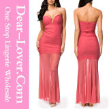 Sweetheart Sheer Fishtail Maxi Evening Dress