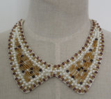 Ladies Fashion Pearl Crystal Chunky Choker Necklace Custome Jewelry (JE0055)