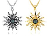 Silver & Gold Color Stainless Steel Long Chain Necklaces Western Vintage Compass Pendant Necklaces Male Metal Jewelry Accessories