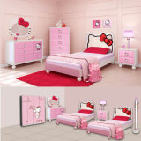 Pink Hello Kitty Children Bedroom Furniture Set 2017 Newest Wood Bedroom (Item No#159)