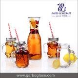 1L Glass Milk Bottle with 4PCS 420ml Mason Jar with Handle Drinking Set