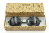 F151069 Wholesale Round Frame Sunglass Wooden Bamboo Temple Sun Glasses Women Style