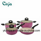 Kitchenware Pink Aluminum Ceramic Cookware Set