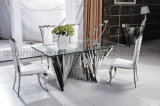 Tempered Glass Dining Table with Stainless Steel Base