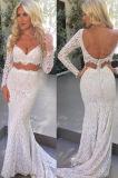 Two-Piece V-Neckline Mermaid White Lace Wedding Dress Bz1064