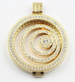 Textured Top Locket with Changeable Coins for Pendant Necklace