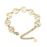 Elegant Women Jewelry Fashion Stainless Steel Coins Charm Bracelet