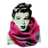 Pink & Grey Color Design Jacquard Seamless Neck Warmer Tube (YT-901)