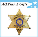 Metal Flag Pin Badge with Gold Star Badge (badge-005)