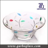 Deep Large Size Glass Salad Bowl with Spraying Color
