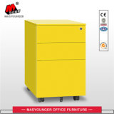 White Color Office Use 3 Drawer Mobile Pedestal Movable Filing Storage Cabinet