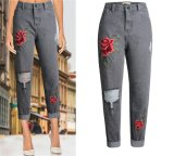 Fashion European Loose Leisure Hole Embroidery Denim Jeans for Women