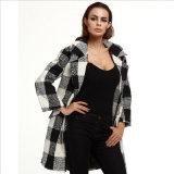 Black and White Plaid Lapel Woollen Coat