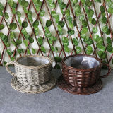 Hot Sales Cheep Creactive Handmade Wicker/Willow Teacup and Saucer