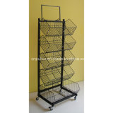 5 Tiers Slanted Steel Wire Basket Storage Rack (PHY502)