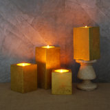 2017 New Design Golden Color Square Sharp LED Flameless Candle