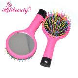 Rainbow Colorful Bristle Plastic Hair Brush Hair Comb with Mirror