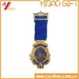 Customized Gold Plating Badge with Ribbon (YB-LY-C-47)