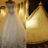2014 New Wedding Dress Crystal Rhinestones Stones a-Line Cathedral Train Bridal Wedding Gown H13361