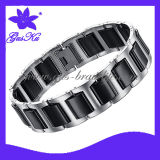 2013 Gus-Cmb-011 Unique Ceramic Fashion Bangle Jewelry with Stainless Steel in High Polishing Black and Sliver Color
