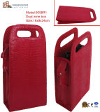 Foldable PU Leather Wine Bag for 2 Bottles (5058R1)