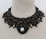Lady Black Square Crystal Chunky Choker Fashion Necklace (JE0161)