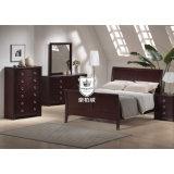 Apartment Walnut Veneer MDF Bedroom Furniture Set