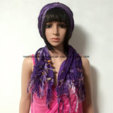 100% Polyester, Viscose Material Fashion Scarf with Lace Decoration