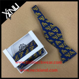 Custom Printed 100% Silk Self Bow Tie Set with Box