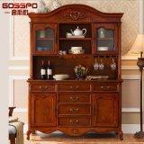 Teak Wood Wine Rack Cabinets for Home (GSP19-005)