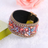 Fashion Rhinestones Crystal Magnetic Natural Stone Bangle Leather Bracelet Jewelry