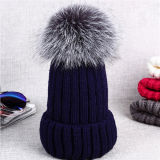 Custom Women Winter Fur Hat Pompom Knitted Beanie Hat