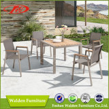 Patio Furniture 5 Piece Garden Furniture Set with Aluminium Chairs and Wood Table