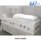 High Gloss White Finishing Velvet Poplar Casket and Coffin