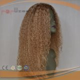 Full Hand Tied Human Hair Scalp Top Work Blonde Curly Clips in Wig