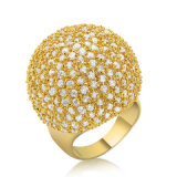 Latest Fashion Fshion Yellow Gold CZ Brass Ladies Wedding Ring