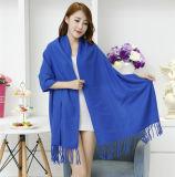 Lady Fashion Acrylic Woven Fringed Plain Winter Shawl (YKY4449)